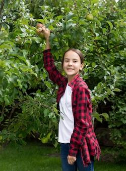 Portret van een gelukkige glimlachende vrouw die appels plukt in de tuin
