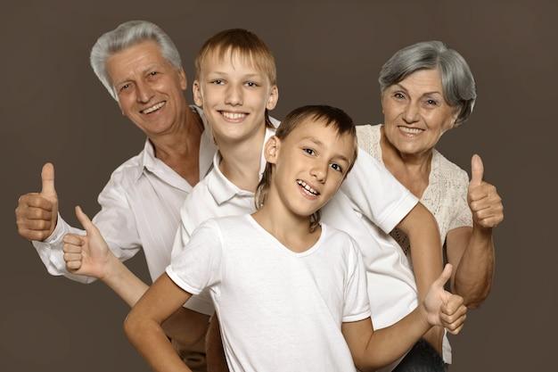 Portret van een gelukkige grootouders en hun twee kleinkinderen