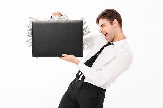 Portret van een gelukkige opgewonden zakenman