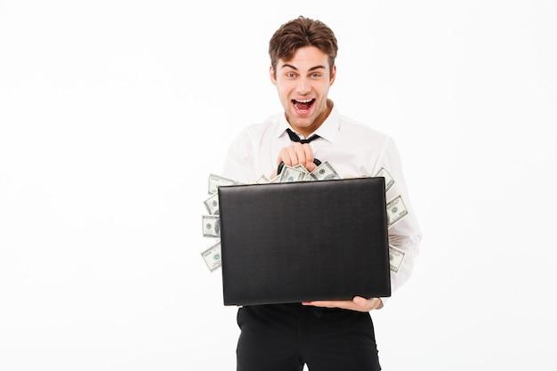 Portret van een gelukkige vrolijke zakenman