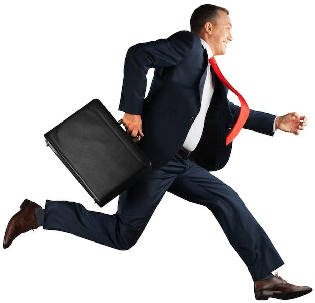 Portret van een gelukkige zakenman die op de achtergrond draait