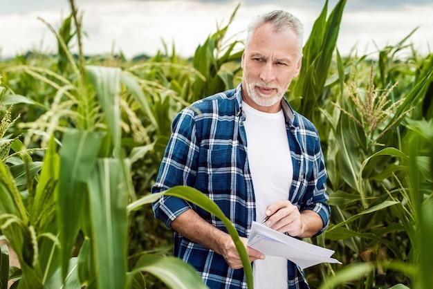 Portret van een hogere landbouwer die zich op een graangebied bevindt dat controle van de opbrengst neemt en een nota maakt