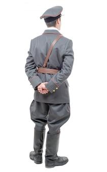 Portret van een jonge officier van het sovjetleger, geïsoleerd op wit