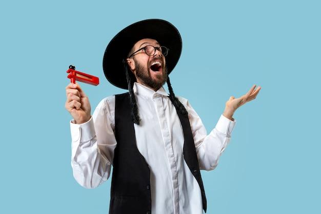 Portret van een jonge orthodoxe hasdim-joodse man
