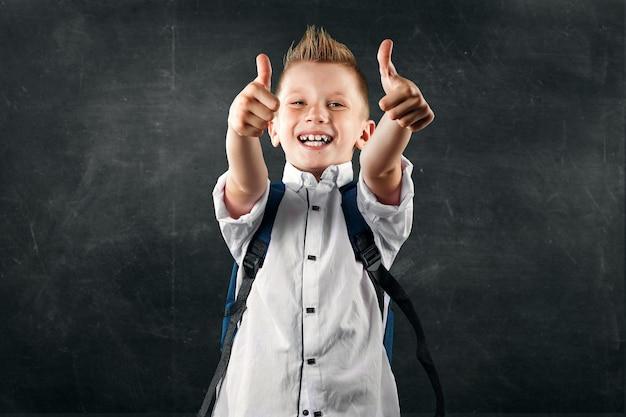 Portret van een jongen uit een lagere school op een achtergrond van een schoolbestuur