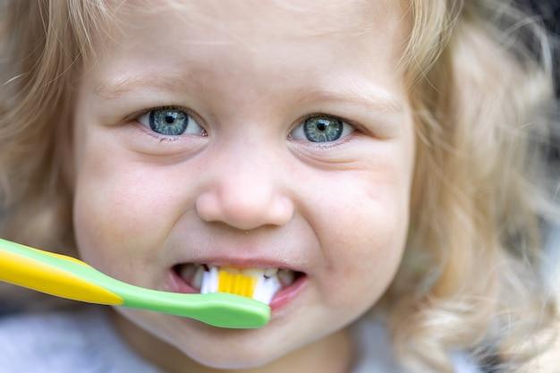 Portret van een klein meisje met een tandenborstel, het kind poetst zijn tanden.