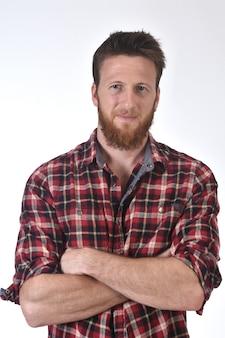 Portret van een man in geruite hemd