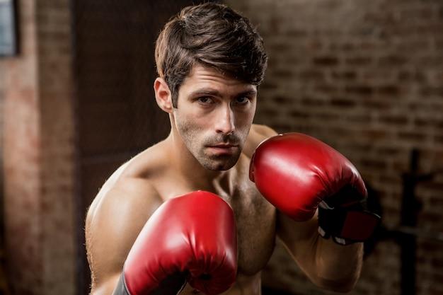 Portret van een man met bokshandschoenen
