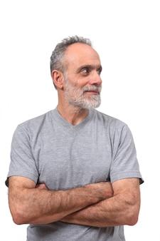 Portret van een man op een witte achtergrond