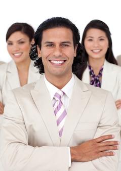 Portret van een manager en zijn team