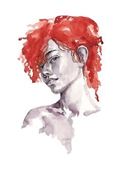 Portret van een meisje in zwart-wit met rood haar - aquarelillustratie