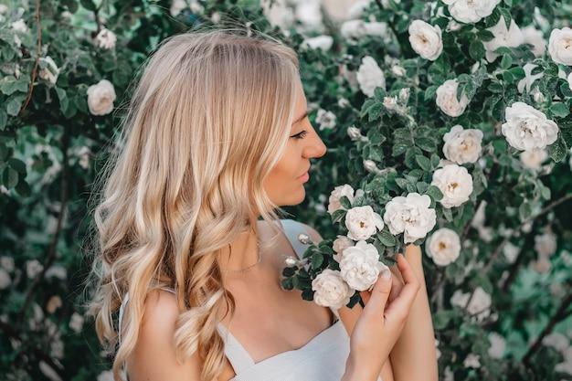 Portret van een mooi blondemeisje met kapsel op de achtergrond van een struik van witte rozen