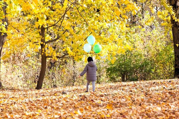 Portret van een mooi kind jongen tijdens een wandeling in het park met ballonnen van verschillende kleuren, herfstseizoen, een jongen met rood haar wandelen in het park tijdens bladval, kinderen in de natuur