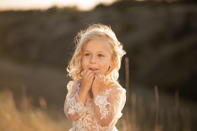 Portret van een mooi klein prinsesmeisje in een roze jurk. poseren in een veld bij zonsondergang