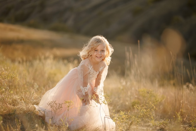 Portret van een mooi klein prinsesmeisje in een roze jurk.