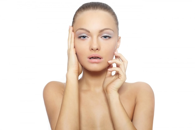 Portret van een mooi naakt vrouwelijk vrouwen model groot lips spa