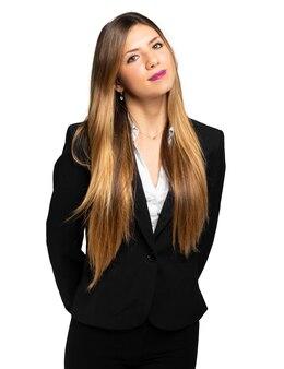 Portret van een mooie zakenvrouw geïsoleerd op een witte achtergrond