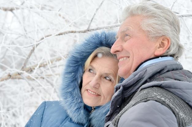 Portret van een ouder echtpaar dat plezier heeft buiten in het winterbos