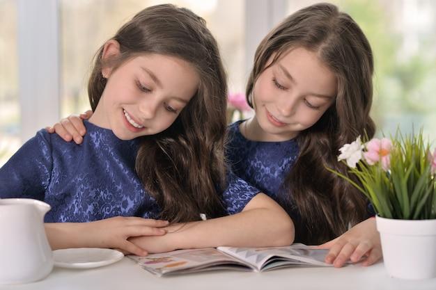 Portret van een paar brunette kleine tweelingmeisjes die een tijdschrift lezen