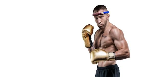 Portret van een professionele thaise bokser. muay thai, kickboksen, vechtsportenconcept. gemengde media