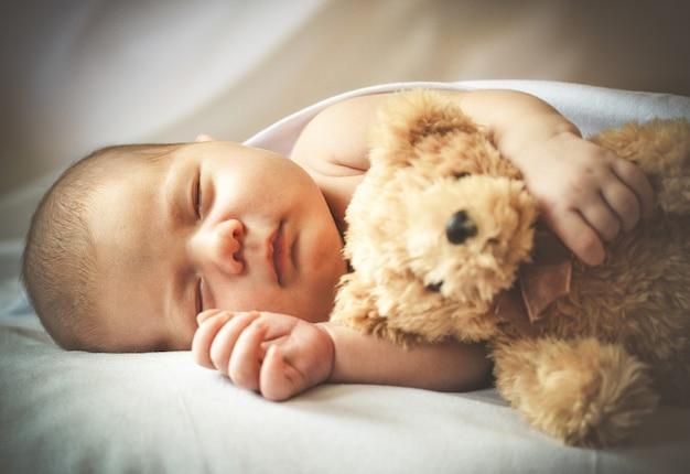 Portret van een schattige kleine baby die slaapt met zijn speeltje