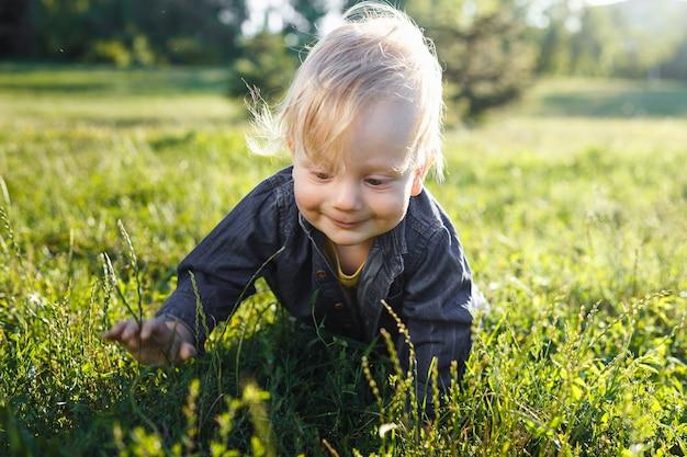 Portret van een schattige peuterjongen, zittend in een veld tussen het gras bij zonsondergang. een kind loopt in het park. in de open lucht. gelukkig zomer- en levensstijlconcept. jeugd. Premium Foto
