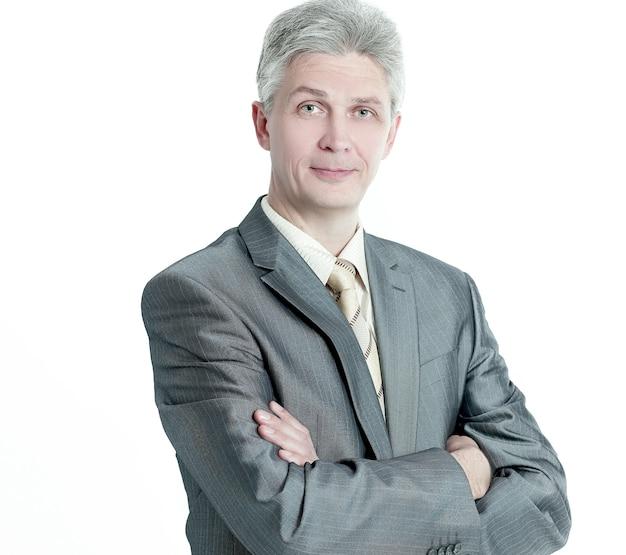 Portret van een senior zakenman .isolated op een witte