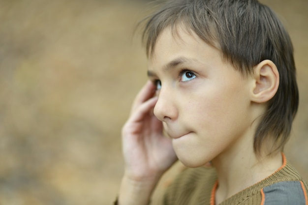 Portret van een trieste jongen in het herfstpark