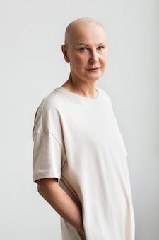 Portret van een vrouw met huidkanker