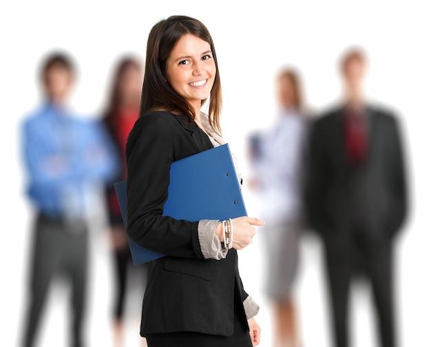 Portret van een vrouwelijke manager voor haar team