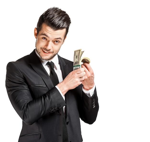 Portret van een zaken man met geld