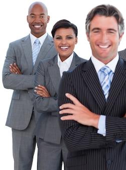 Portret van enthousiast commercieel team