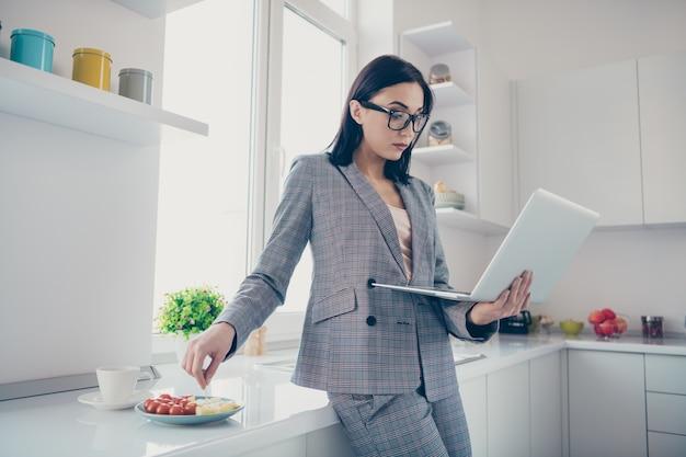 Portret van geconcentreerde mooie laptop van de damegreep
