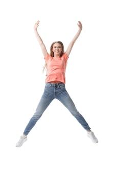 Portret van gelukkig meisje student.isolated op witte background