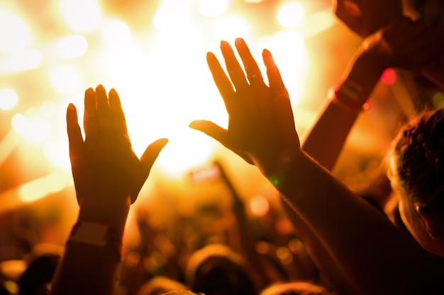 Portret van gelukkige dansende menigte genietend van op muziekfestival