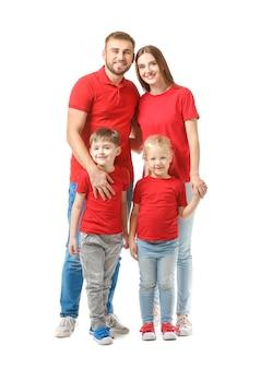 Portret van gelukkige familie op wit