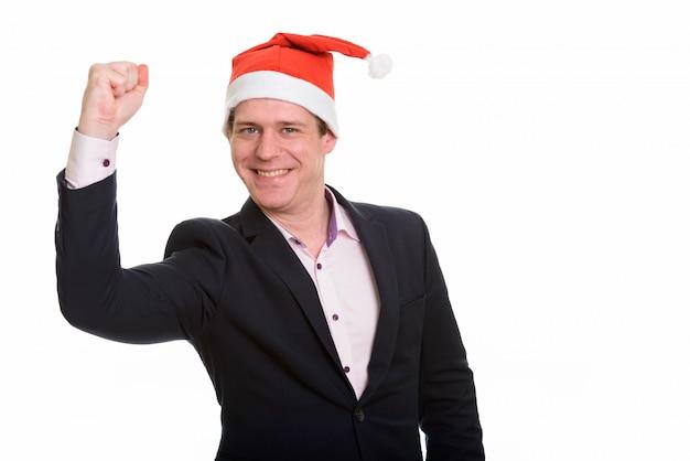 Portret van gelukkige knappe blanke zakenman die gemotiveerd kijkt