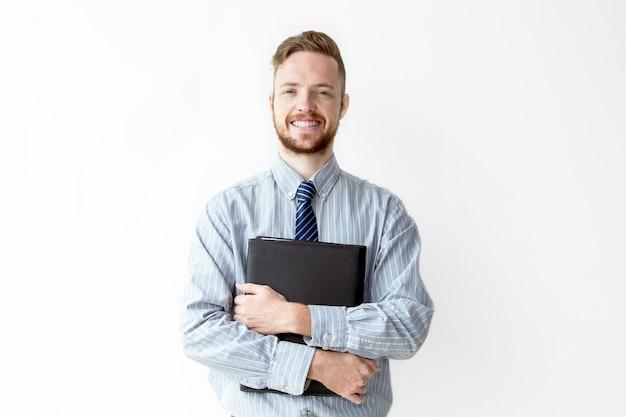 Portret van gelukkige manager bedrijf lederen tas