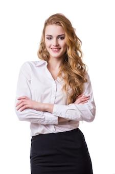 Portret van glimlachende bedrijfsvrouw, geïsoleerd op witte achtergrond
