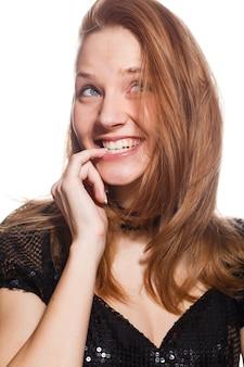 Portret van grappige emotionele meisje
