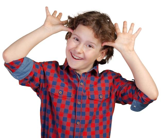 Portret van grappige kleine jongen