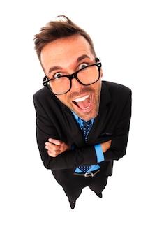 Portret van grappige zakenman