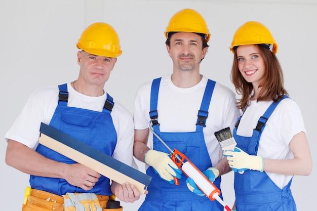 Portret van het team van arbeiders