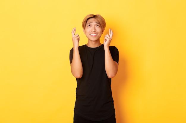 Portret van hoopvolle bezorgde aziatische man kruis vingers veel geluk, bedelen opzoeken, staande gele muur