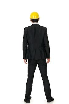 Portret van je aziatische bouwman met op witte achtergrond.