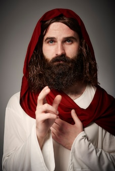 Portret van jezus op gewaad die iedereen zegent