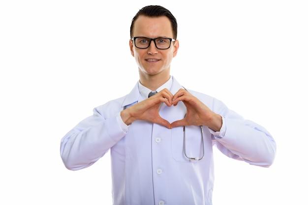 Portret van jonge knappe man arts met bril