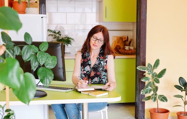 Portret van jonge mooie vrouw thuis werken met computers of co-working plaats