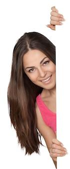 Portret van jonge schattige vrouw geïsoleerd op een witte achtergrond