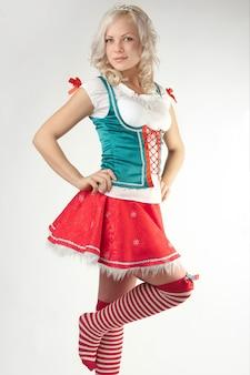 Portret van jonge sexy kerstmanvrouw